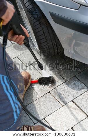 At the car wash - stock photo