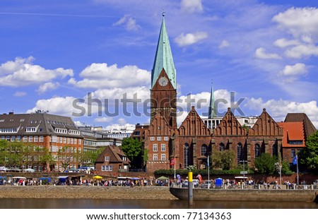 At the famous Schlachte in Bremen, Germany - stock photo