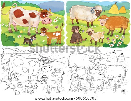 mother cow and her calf stock images royalty free images vectors shutterstock. Black Bedroom Furniture Sets. Home Design Ideas