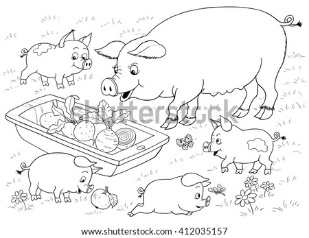 farm farm animals cute mother pig stock illustration 412035157 shutterstock. Black Bedroom Furniture Sets. Home Design Ideas
