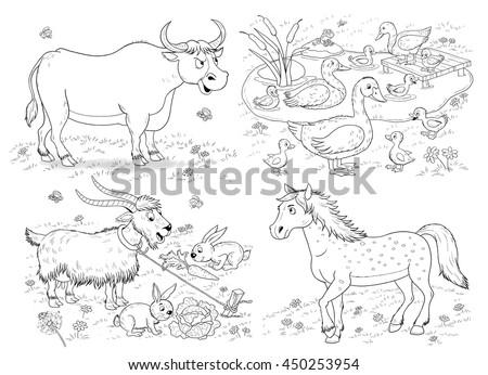 farm small set cute farm animals stock illustration 450253954 shutterstock. Black Bedroom Furniture Sets. Home Design Ideas