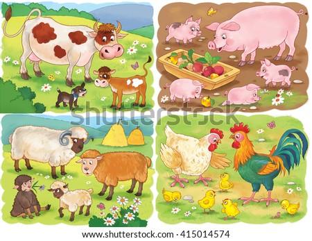 farm small set cute farm animals stock illustration 415014574 shutterstock. Black Bedroom Furniture Sets. Home Design Ideas