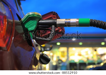 at the gass station - stock photo