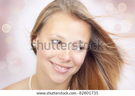At the girl a beautiful smile. - stock photo