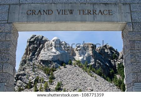 At the Grand View Terrace at Mount Rushmore National Memorial, South Dakota, USA - stock photo