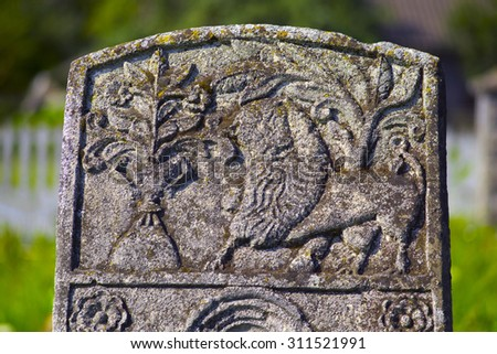 At the Karaite cemetery in the village Zalukva near Galich (Ivano-Frankivsk region, Ukraine) remained around 200 gravestone monuments. The oldest of them dated from the mid-XVIII century.  - stock photo