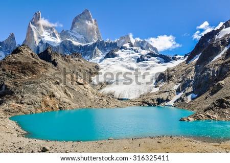 At the lagoon, Fitz Roy Walk, El Chalten, Patagonia, Argentina - stock photo