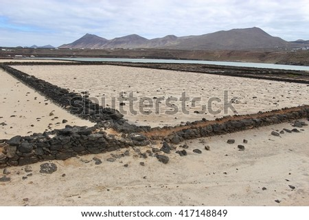 At the Lagoon of Janubio. Southwest Lanzarote, an area of sea salt production. Canary Islands, Spain. In the foreground old, abandoned salt bassins.