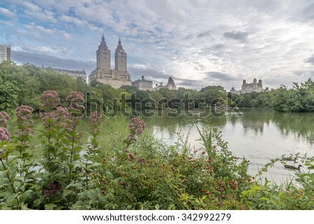 At the Lake in summer after rain storm Central Park - stock photo