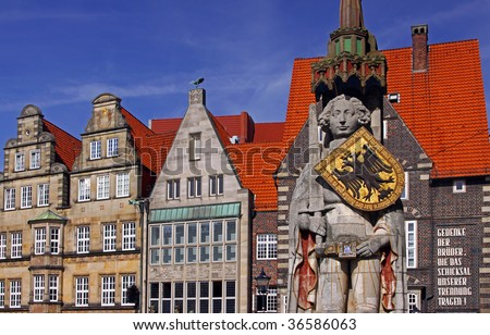 At the Market place in Bremen, Germany, with the Statue of the Roland - stock photo