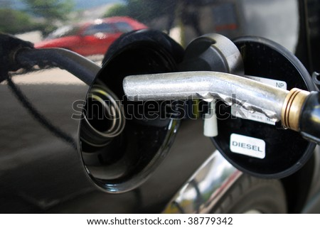 at the petrol station - stock photo