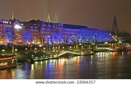 At the Schlachte in Bremen at night in December, Germany - stock photo