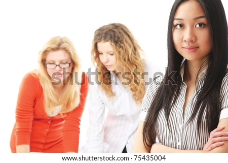 At the seminar, focus on a pretty asian girl - stock photo