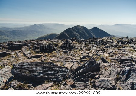 at the top of Carrauntoohil, Ireland - stock photo