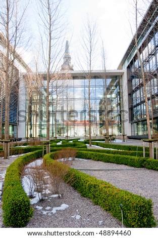 At the yard of modern office buildings in Copenhagen, Denmark - stock photo