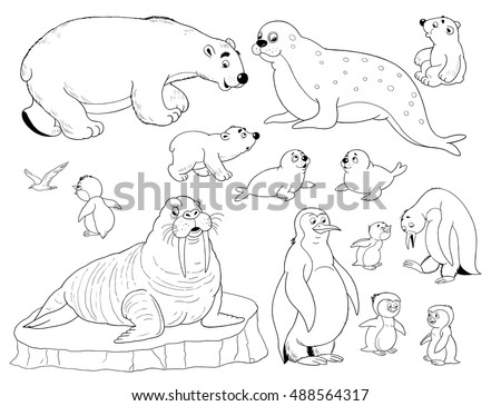 Zoo Small Set Cute Arctic Animals Stock Illustration 488564317 Animals Of The Arctic Coloring