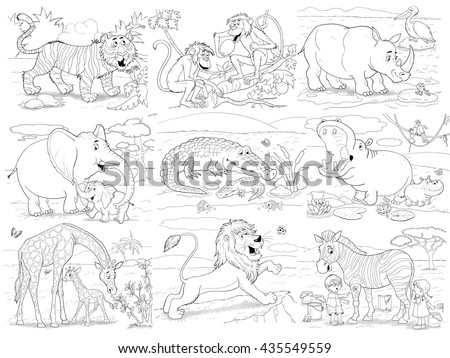 At the zoo. African animals. Cute tiger, monkeys, hippo, rhinoceros, elephant, crocodile, giraffe, lion and zebra. Coloring book. Coloring page. Funny cartoon characters isolated on white background. - stock photo