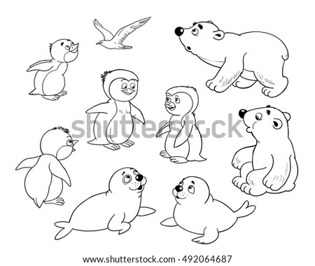 coloring page funny cartoon characters at the zoo arctic animals small set of cute arctic baby animals baby - Baby Arctic Animals Coloring Pages