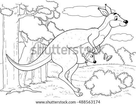 At The Zoo Australian Animals Cute Mother Kangaroo And Her Baby Illustration For