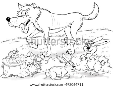 At the zoo. Cute forest animals. Woodland animals. A wolf, hares and a snail. Illustration for children. Coloring book. Coloring page. Funny cartoon characters.