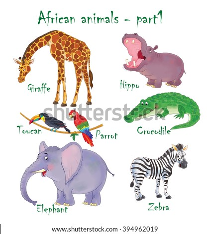 At the zoo. Cute set of African animals. Giraffe, hippo, crocodile, elephant, zebra, toucan and parrot.  Illustration for children. Coloring book. Coloring page. Cartoon characters isolated on white. - stock photo