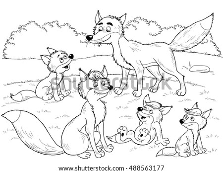 Forest Animals A Family Of Cute Foxes Illustration For Children