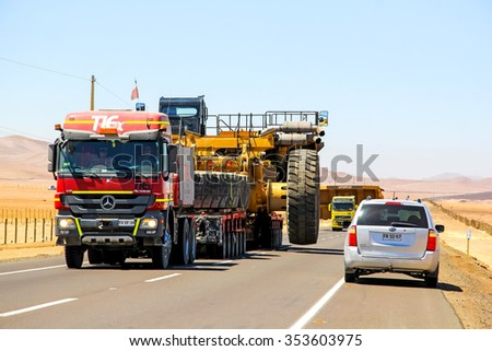 ATACAMA, CHILE - NOVEMBER 18, 2015: Heavy trailer truck Mercedes-Benz Actros at the Pan-American Highway. - stock photo