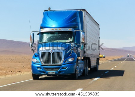 ATACAMA, CHILE - NOVEMBER 14, 2015: Semi-trailer truck International Navistar at the interurban freeway.