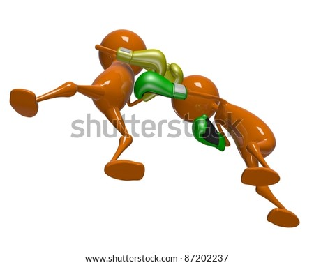 Atack and defence in boxing (3d isolated characters sports series) - stock photo