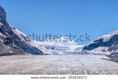 Athabasca Glacier in Jasper National Park, Alberta, Canada - stock photo