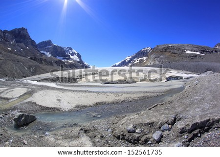 Athabasca Glacier melting in a hot summer day. Columbia Icefields, Jasper National Park, Alberta, Canada - stock photo