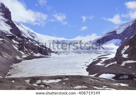 Athabasca Glacier - part of Columbia Icefield. Jasper National Park, Alberta, Canada. - stock photo