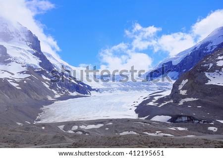 Athabasca Glacier - part of Columbia Icefield. Jasper National Park, Alberta, Canada. - stock photo