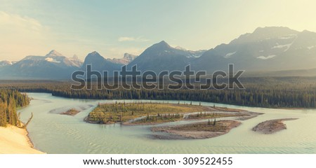 Athabasca River in Jasper National Park,Canada - stock photo