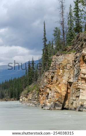 Athabasca River Parkway on Canada - stock photo