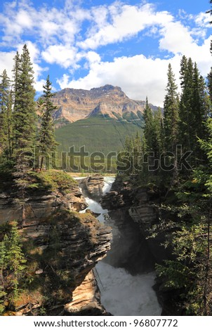 Athabasca waterfall. Rocky mountains. Jasper National Park. Alberta. Canada - stock photo