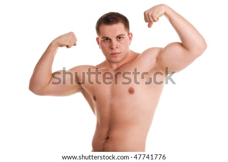 atheletic man on white background