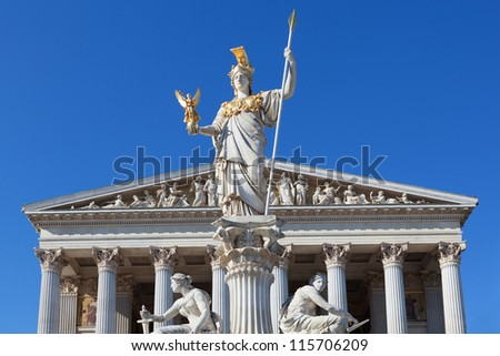 Athena in front of the Austrian Parliament in Vienna - stock photo