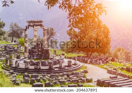Athena Pronaia Sanctuary at Delphi, Greece  - stock photo
