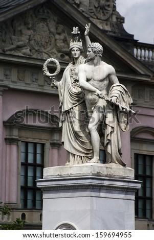 Athena protecting a hero, Berlin, Germany - stock photo