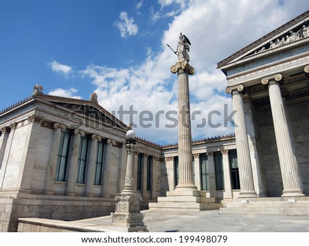 Athena statue and the Academy of Athens, Greece - stock photo