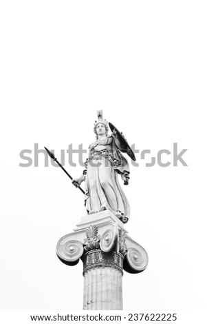 Athena Statue at Academy of Athens, Black and white image - stock photo