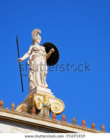 Athena statue, at the main entrance of the Academy of Athens, Greece - stock photo