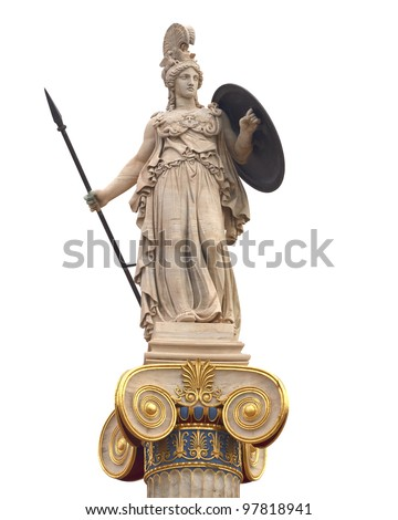Athena statue, goddess of philosophy and wisdom - stock photo