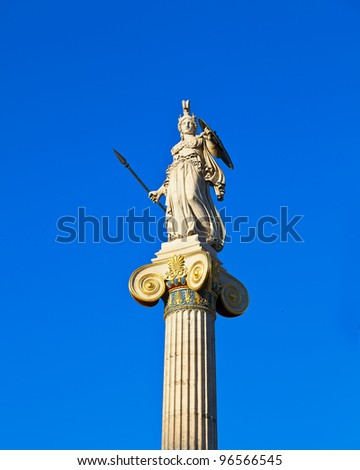 athena statue in the academy of athens - stock photo