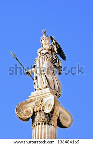 Athena statue in the Academy of Athens ,Greece - stock photo