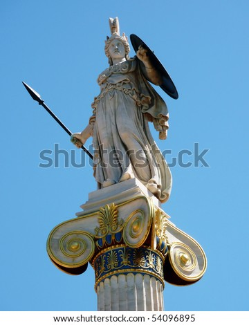 Athena statue on a column at national academy, Athens Greece - stock photo