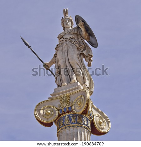 Athena statue, the goddess of science and wisdom, Greece - stock photo