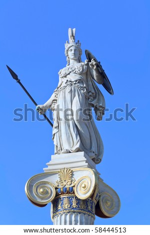Athena statue with golden decorations - stock photo