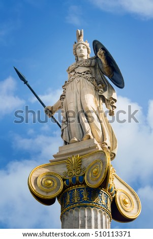Athena statue with golden decorations at the building of the Academy of Sciences in Athens, Greece